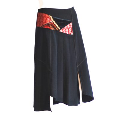 It's By A.A. Asymmetrical black skirt with front accents - made in france
