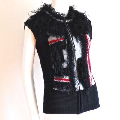 See By Chloe feathery black, red and white wool vest made in Italy