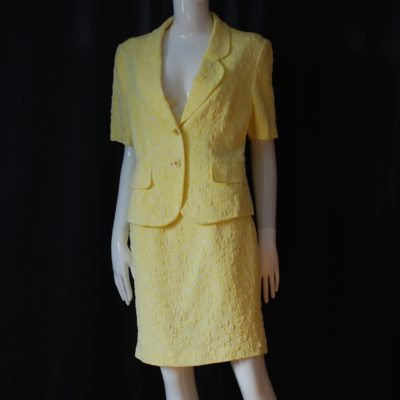 Weinberg Paris 1980's yellow summer skirt and short sleeved blazer