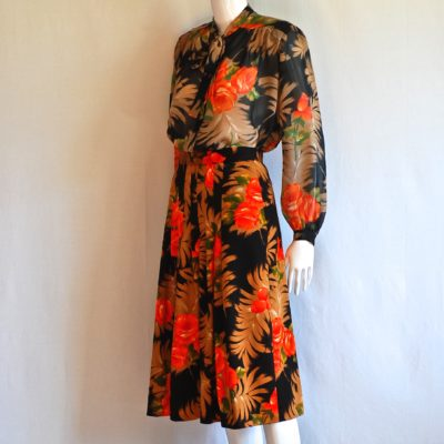Oleg Cassini Signature Collection Vintage orange and black floral skirt and top