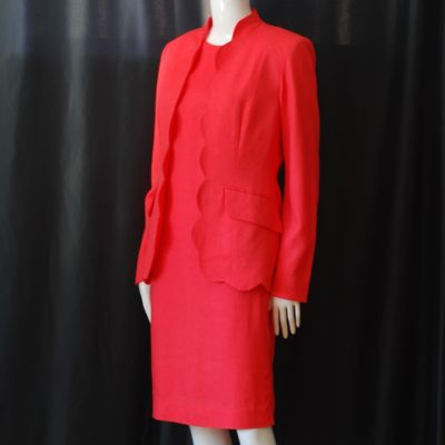 2f6c2e8c234 Saks Fifth Avenue Folio Collection Coral Dress   Blazer Set – USA
