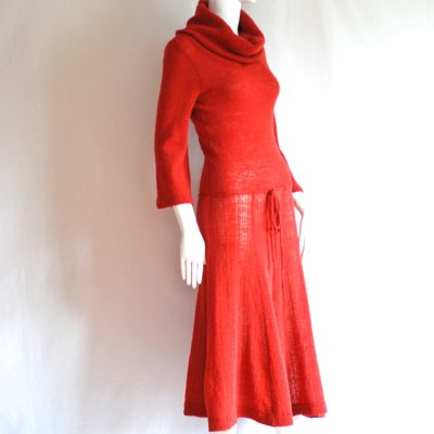 Marni Knits 1970's rust coloured hand loomed dress, made in Canada