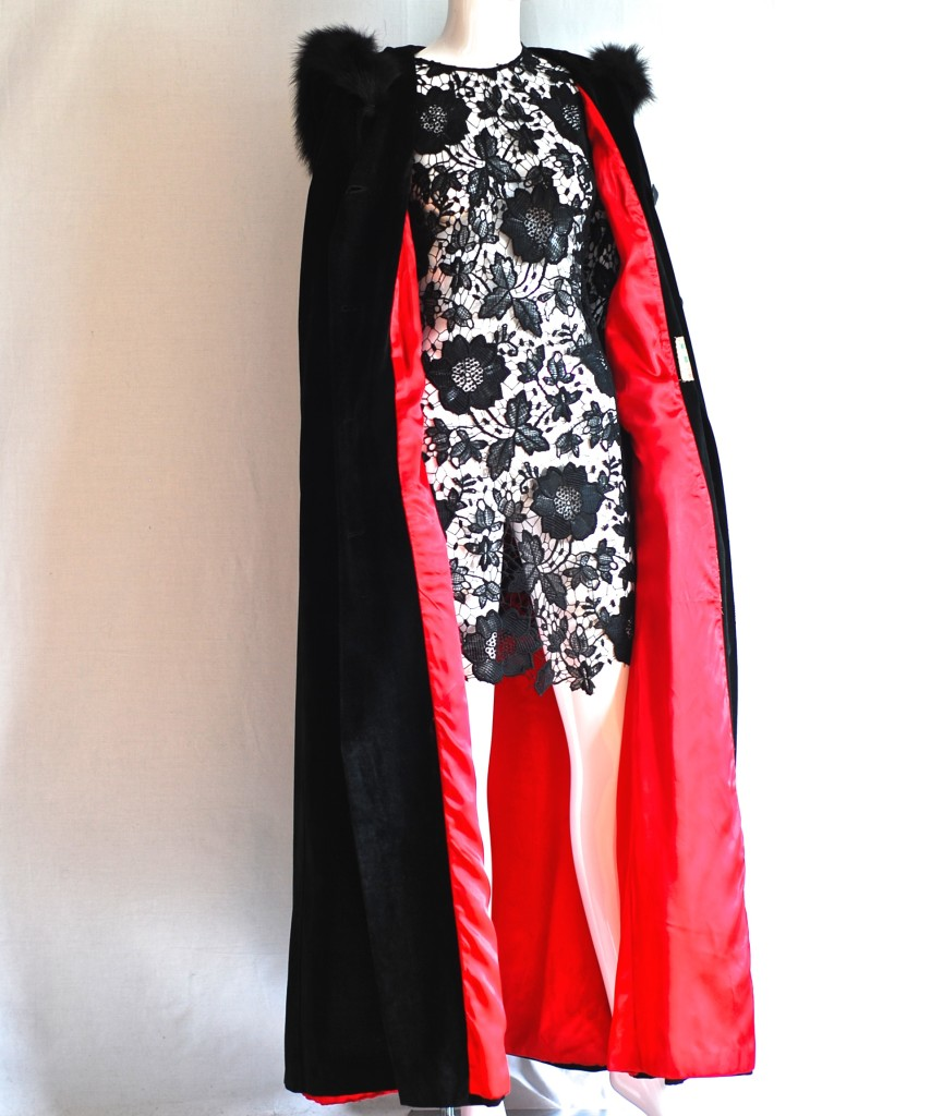 Fur trimmed, red lined, black opera cape made in canada