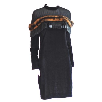Maria Michele black dress with fur and bead trim, long sleeve - made in France