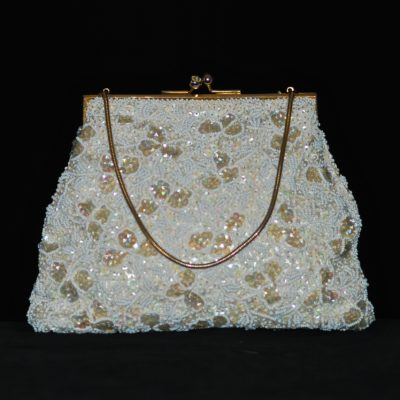 1950's white hand beaded evening bag