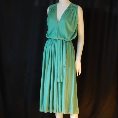 antonella ore Silk & Viscose pastel green summer dress made in Italy