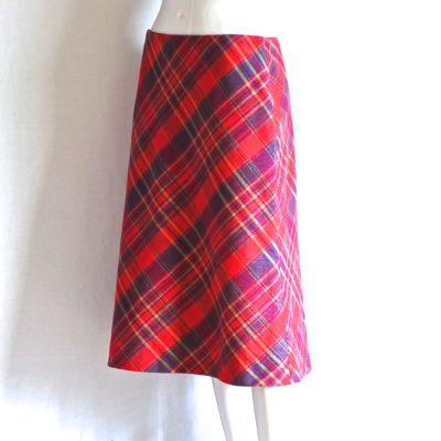 TJ Paris pink and blue plaid A-line skirt, made in France