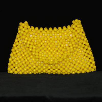 1960's yellow beaded lucite purse