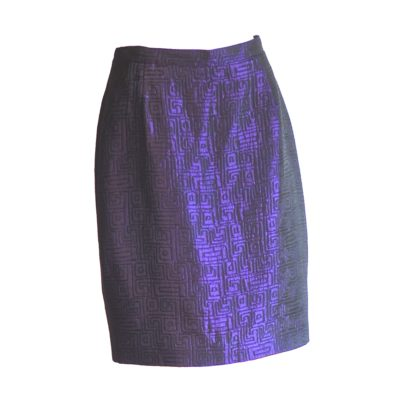 M Daquin Paris purple jacquard pencil skirt, made in France