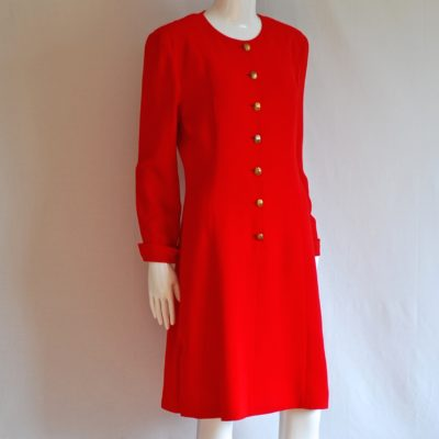 Valentino Miss V red dress with gold tone buttons, made in Italy