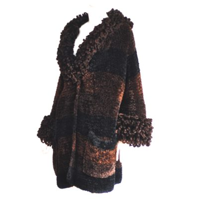 Christian Lacroix brown and black knit coat with looped trim and front pockets, made in France
