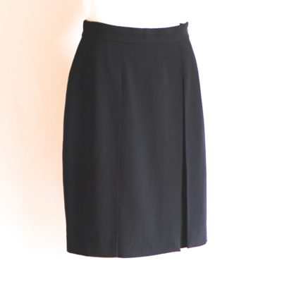 Giorgio Armani black wool skirt with side pleat, made in italy