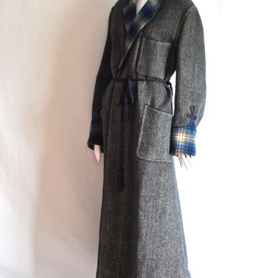1940's blue and gray wool maxi coat with plaid trim