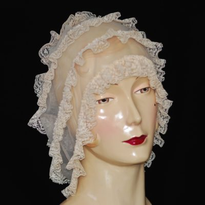 Vintage pale pink, lace trimmed night cap