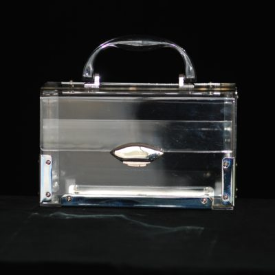 1950's clear transparent lucite box purse with silver tone hardware
