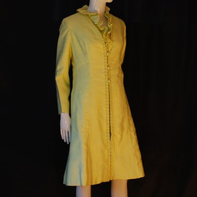 Madame Runge light green silk satin dress and coat set, 1960s, made in Canada