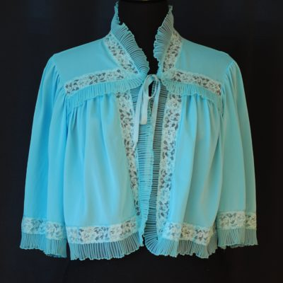Harvey Woods 1950's Blue Bed Jacket With lace accents