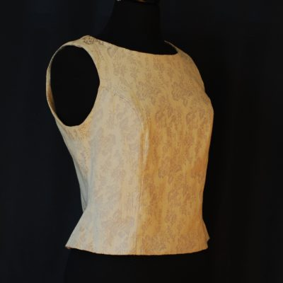 ces-Astuces Astu sleeveless top, light green and ivory - made in France