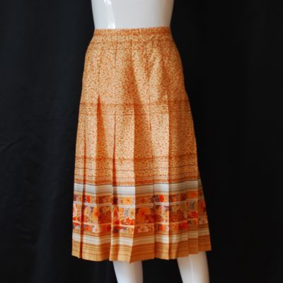Advet Jenast Paris Haute Couture vintage pleated summer skirt, light orange tones, made in France