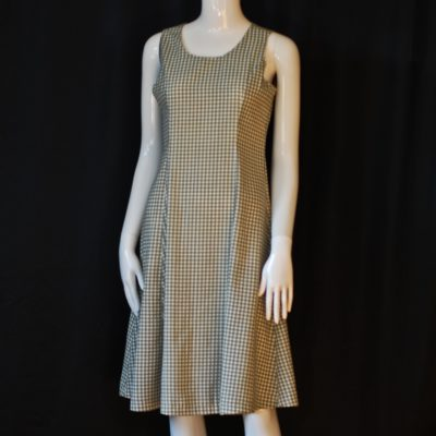 Valentini black and white A-line sleevelsees dress made in Italy