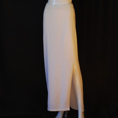 St. John Evening Long White Skirt With Side Slit, made in USA