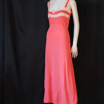 Alan Lingerie 1960's long pink nightgown with lace trim, made in Montreal, Canada