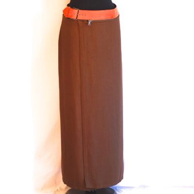 Jean Paul Gaultier vintage brown wrap skirt with attached leather belt, made in Italy