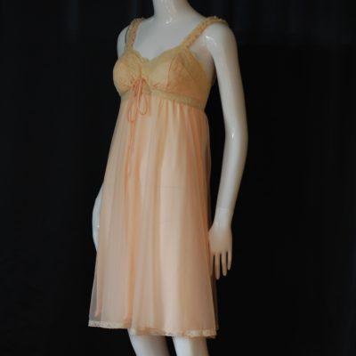 Olga Sleeping Pretty 1960's peach colored nightgown