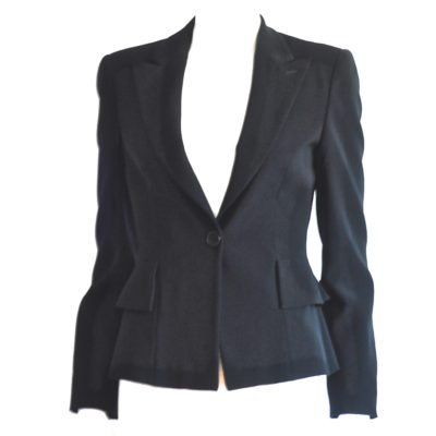 Black Armani blazer with a ruffle on the back