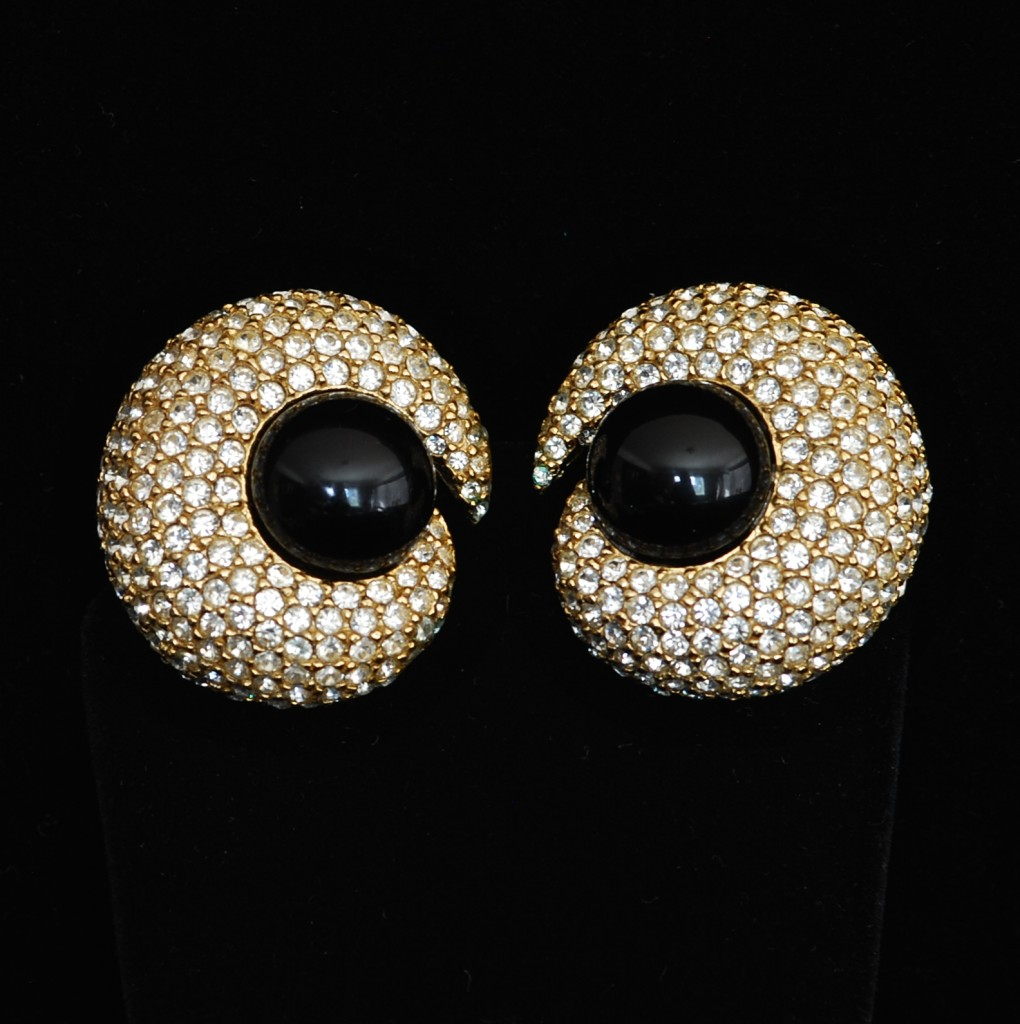 Ciner Dramatic Mid Century Ear Clips with black centers surrounded by pave crystals