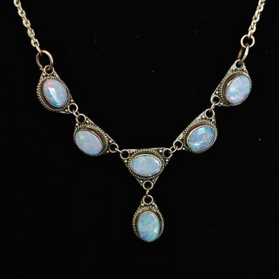 Sterling silver and opal drop necklace