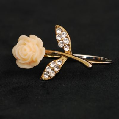 Two Finger Ring With Stemmed Rose & Leaves