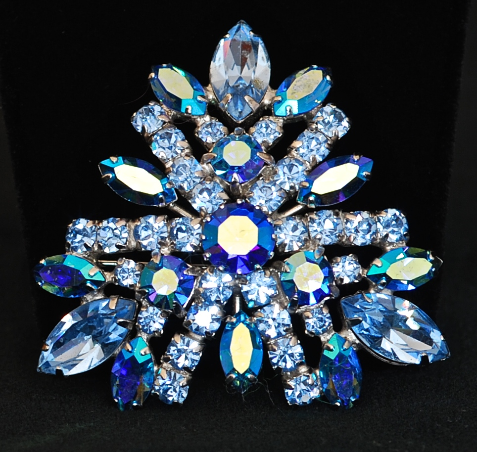 Gutave Sherman Blue Crystal Pin Signed on the Back
