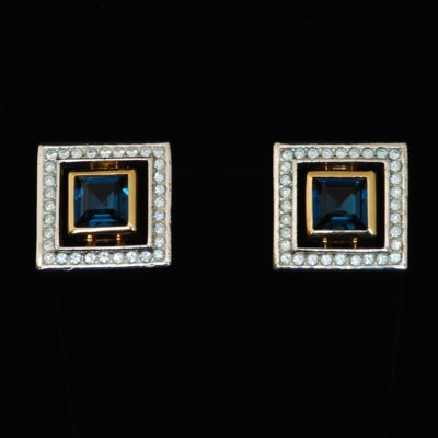 Christian Dior numbered ear clips with blue stone center and pave crystals