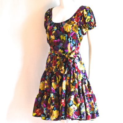 Betsey Johnson flared floral silk dress, made in USA