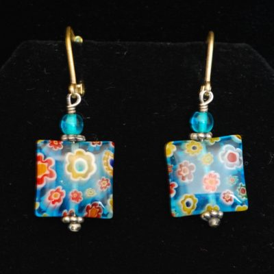 Cane Millefiori Square Earings made in italy