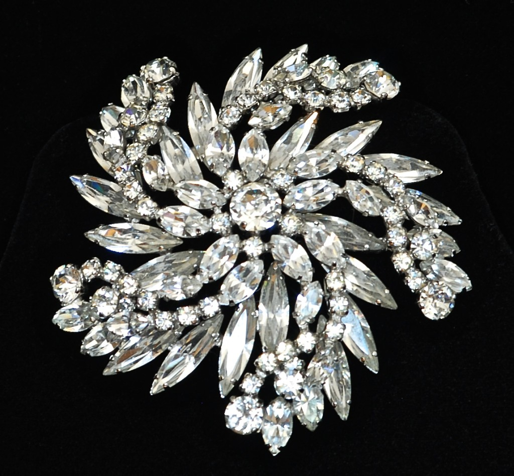 Sherman Fabulous Large Rhinestone Pin - Signed