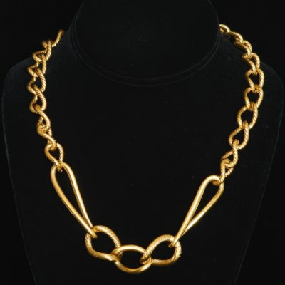 Monet Gold Tone Textured Metal Chain Link Necklace, signed