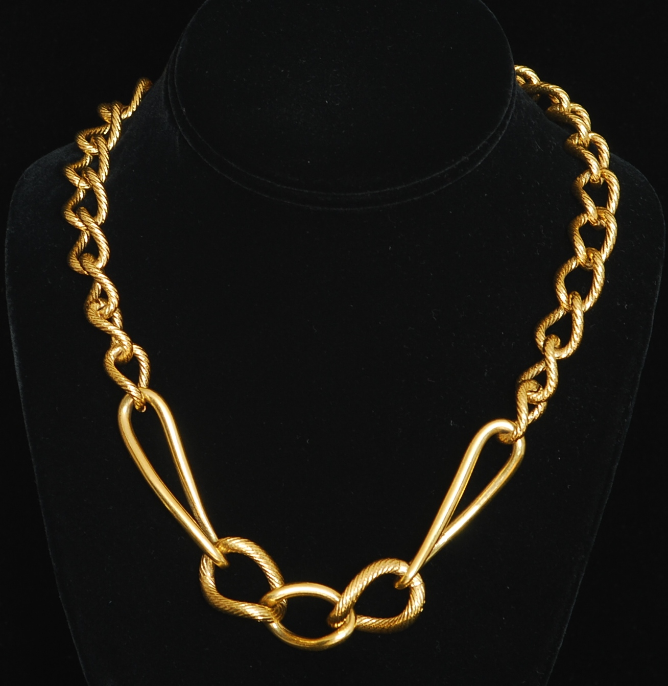 Is Monet Jewelry Real >> Monet Gold Tone Textured Metal Necklace – Signed | QUIET WEST VINTAGE