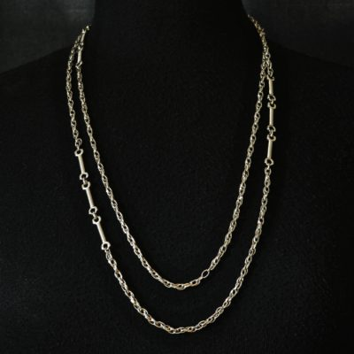 Monet Long Silver Tone Chain Necklace - Signed