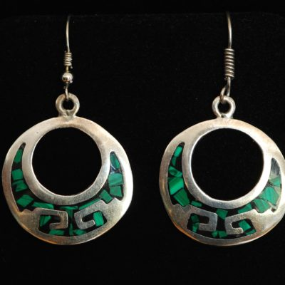 Taxco sterling silver round earrings with a design that is inlaid with onyx and malachite