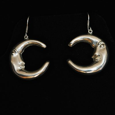 Taxco Sterling Silver stylized crescent moon earrings, signed