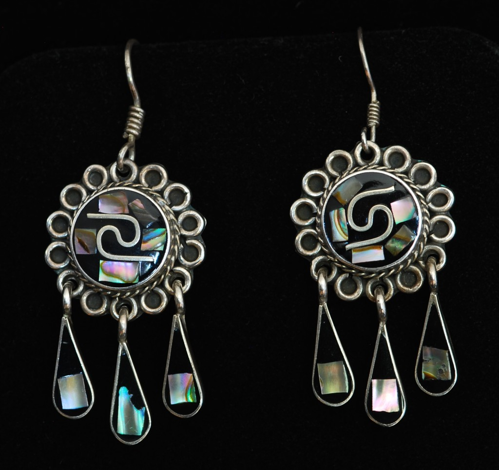 Taxco Onyx & Abalone Earrings