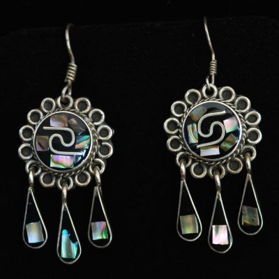 Taxco Onyx & Abalone Earrings - Signed