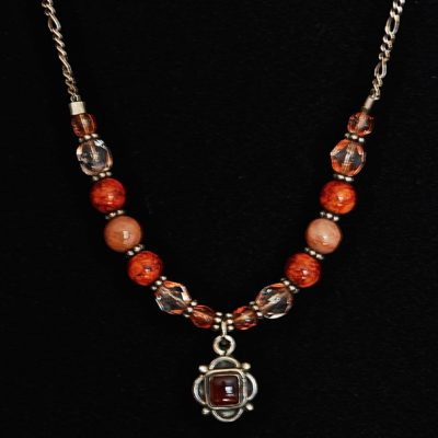 Carnelian & Glass Sterling Silver Necklace - Italy