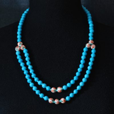 Sky Blue & hand painted Asian necklace with an extra loop