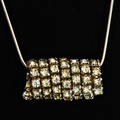 1940's Rhinestone Pendant on a sterling silver chain