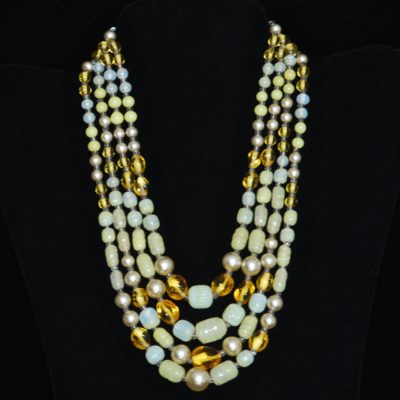 1950's Yellow Four Strand Art Glass Necklace