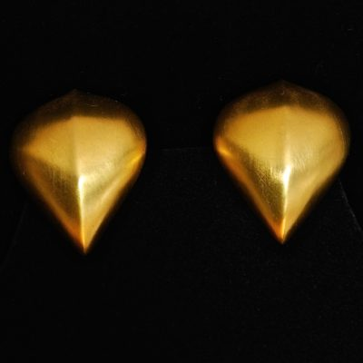 Givenchy brushed gold tone ear clips, signed
