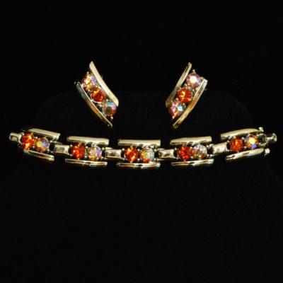 Coro coloured rhinestone bracelet and earring set